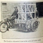"""The Excelsior 'sidecarrier' illustrated below appears to be transporting bicycle parts."" Photo from http://oldbike.eu."