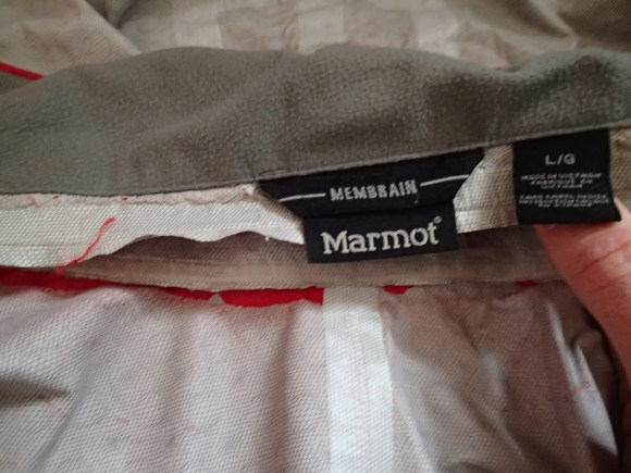 How my Marmot Membrain jacket started to fail.