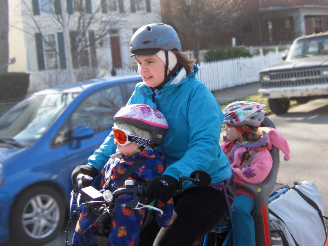 First cross-town trip with Bobike and two kids