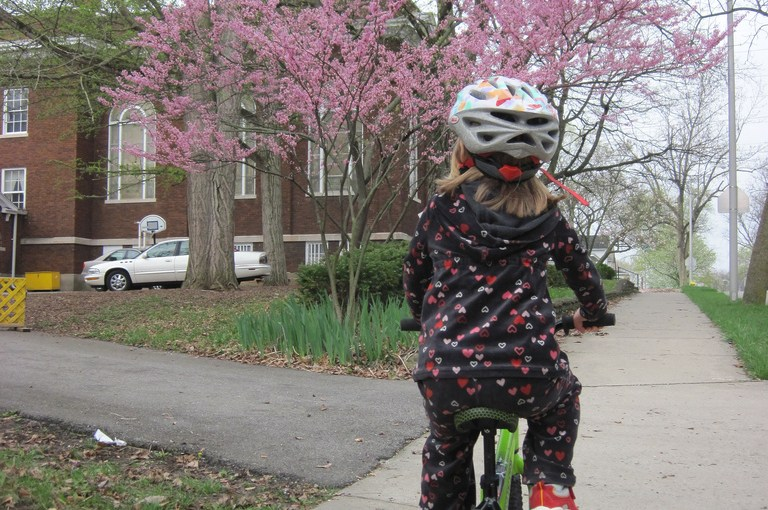 First cross-town bike ride, 4 years old