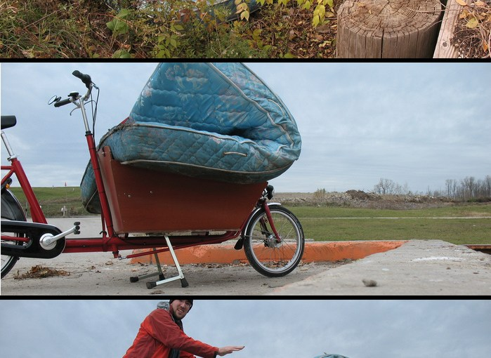 carrying a queen size mattress, by bike.