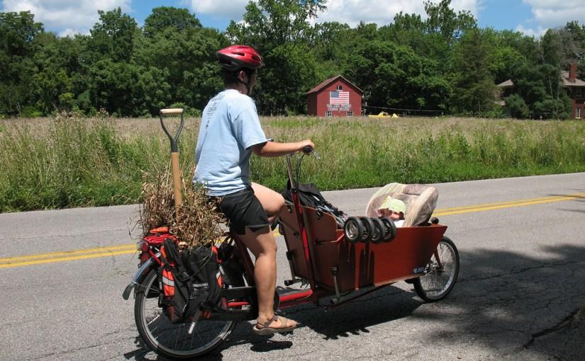garden harvest by bike