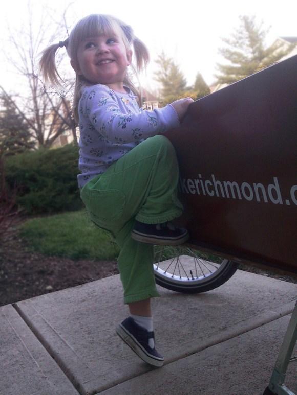 she climbs in herself