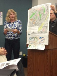 Joan FitzSimons Presents a Map for the Proposed Greenbelt Along Fairmount Avenue. Photo: Marzhel Pinto.
