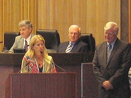 Nicole covered a number of topics as she addressed the Board of Supervisors and the attending public. Photo: Kelly Cummings