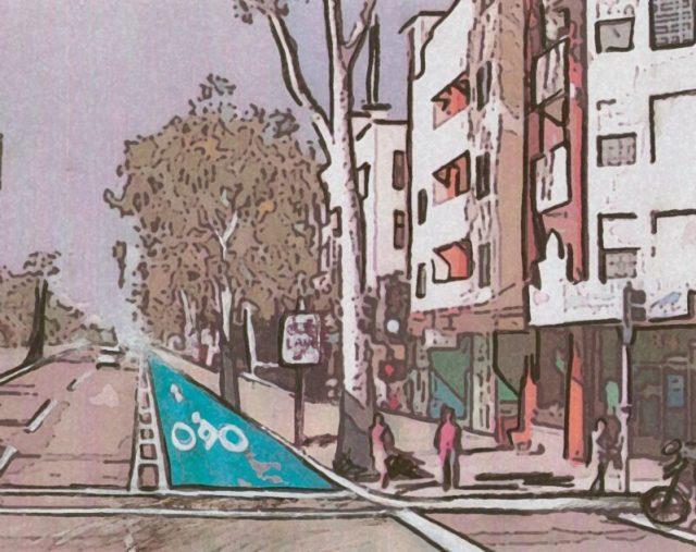 An artist's rendering of El Cajon Blvd with a buffered bike lane looking east at 30th St. Artwork by BikeSD member Aseel Al Huneidi