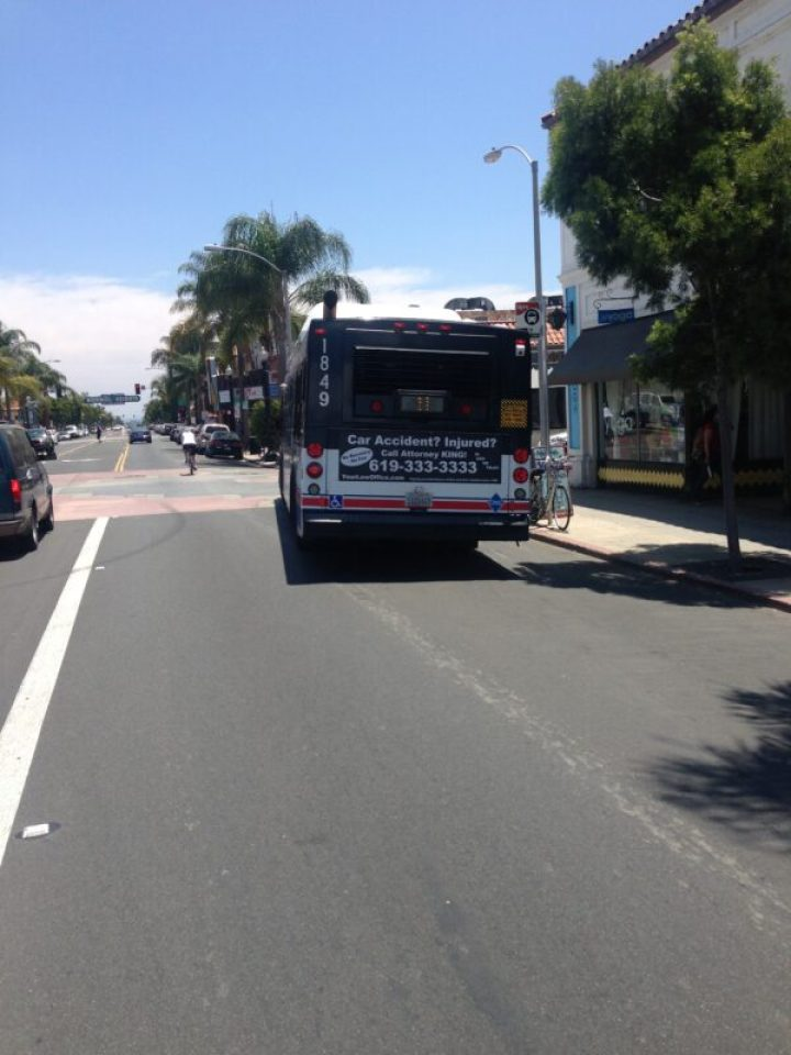 MTS Bus driven by a driver who didn't know how to share the road or pass safely on Adams Avenue that
