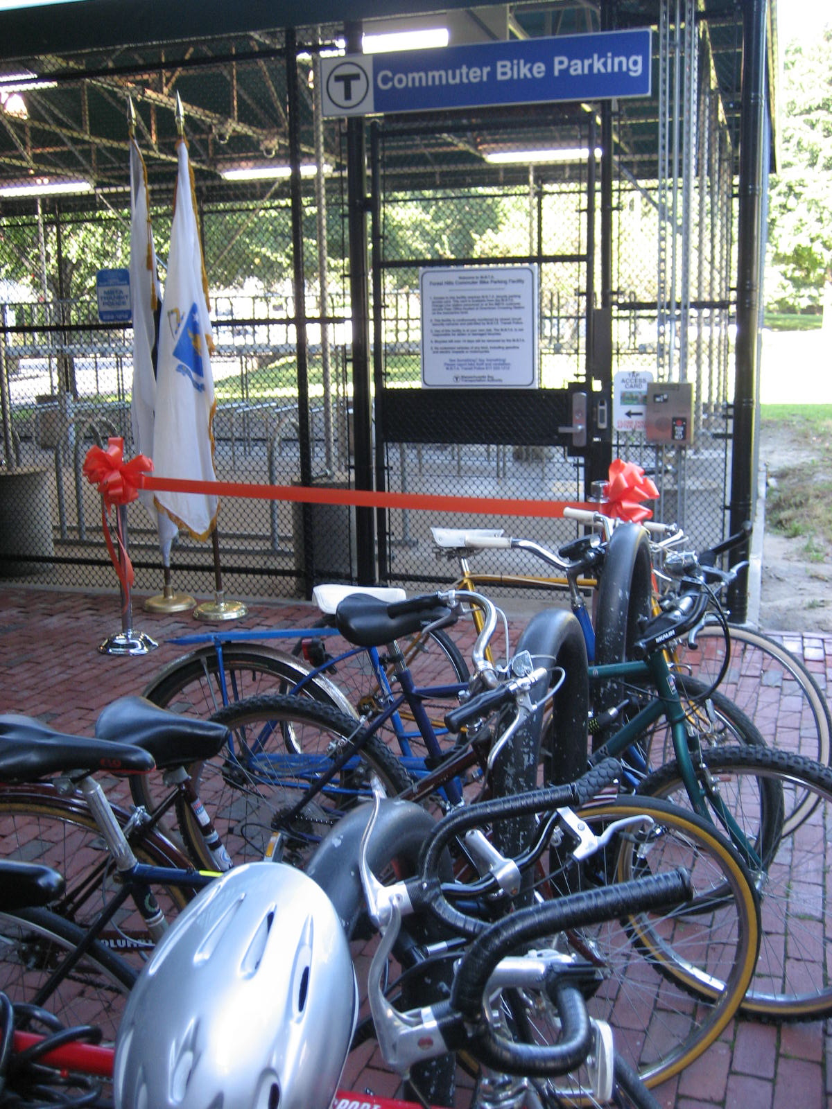 Entrance to Forest Hills Bike Parking Facility
