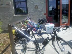 Bike rack made of bike parts at Sun People Dry Goods/Spokane Public Market.