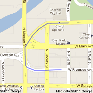 Map showing route from Spokane City Hall onto West Riverside Avenue via Monroe