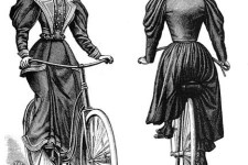 Old illustration of a woman on a bike wearing a full-skirted dress