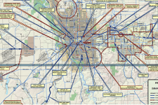 Image of SmartRoutes 2010 project map showing bike/pedestrian projects in Spokane Count, Spokane Regional Transportation Council