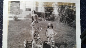 Helmets courtesy of my motorcycle-riding brother Don. That's me on the left; my little sister Julie is on the right.