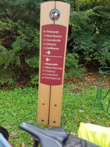 Signpost on the Great Allegheny Passage rail trail.