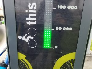 Close-up of a permanent bike counter showing 50,000 rides tallied so far.