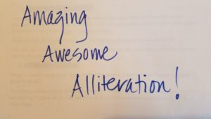 Handwritten text: Amazing Awesome Alliteration!