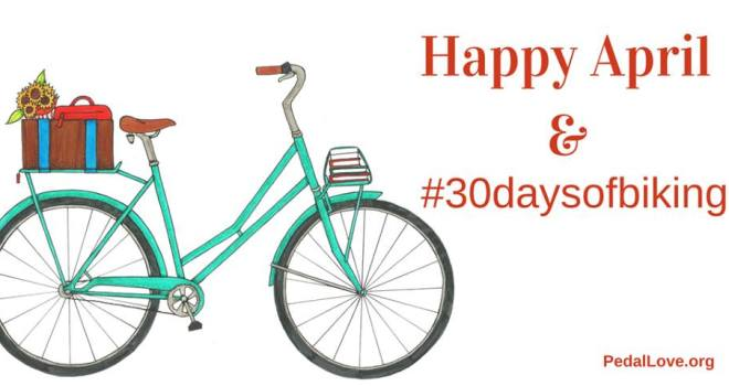 Hand-drawn upright turquoise bicycle with lettering that reads Happy April! #30daysofbiking. By Melissa Balmer, PedalLove.com
