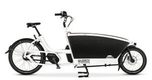 Side view of white cargo bike made by Urban Arrow with black front cargo box.