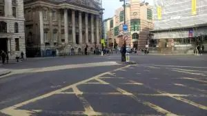 A serene Bank junction after the 7am traffic restriction