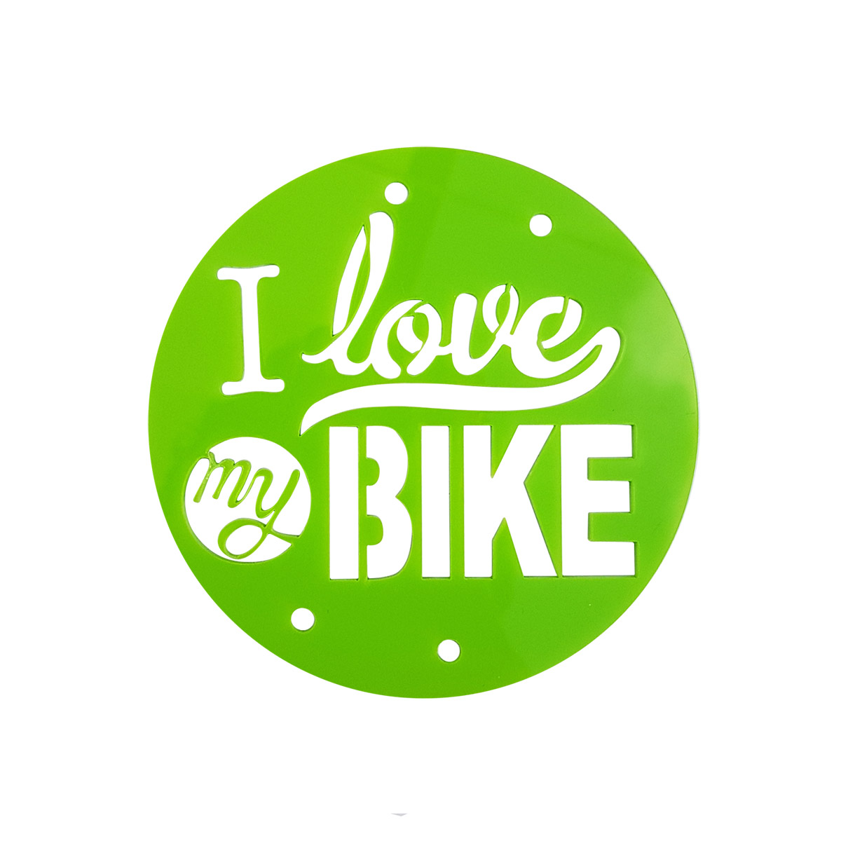 Placa 'I love my bike' verde