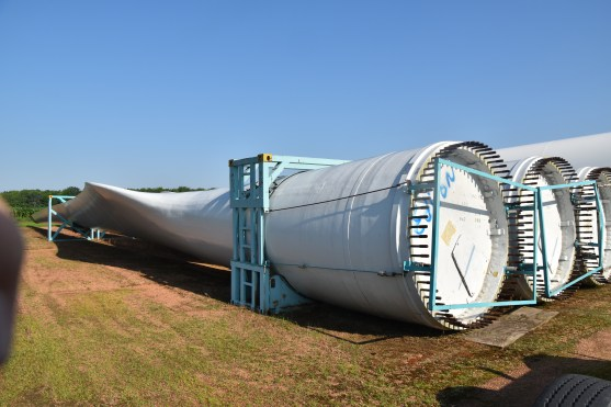 Wind turbine blades stored at a transport center SW of Wausau