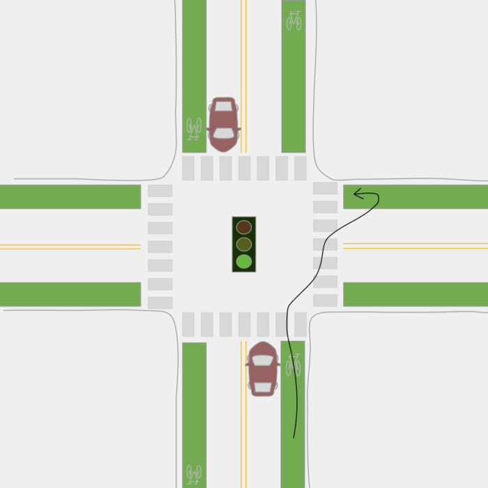 turn left on a bicycle: cross, stop, & pivot to be in the bike lane of the direction you want to go