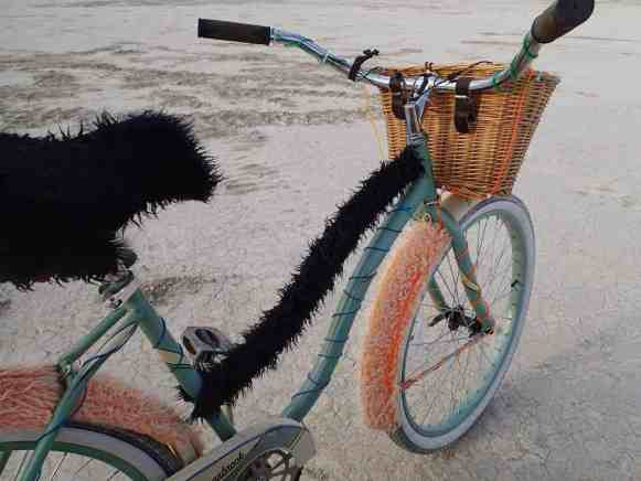 Burning Man bike covered in fur and EL wire