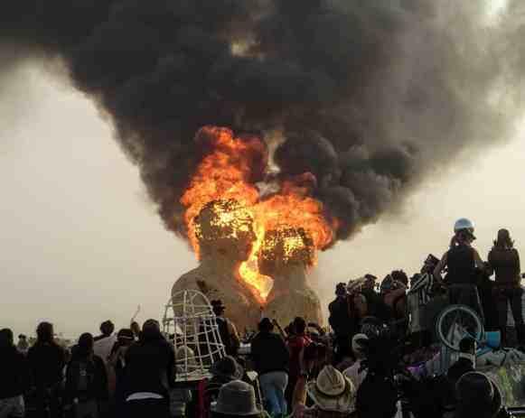 the embrace art installation burning at burning man