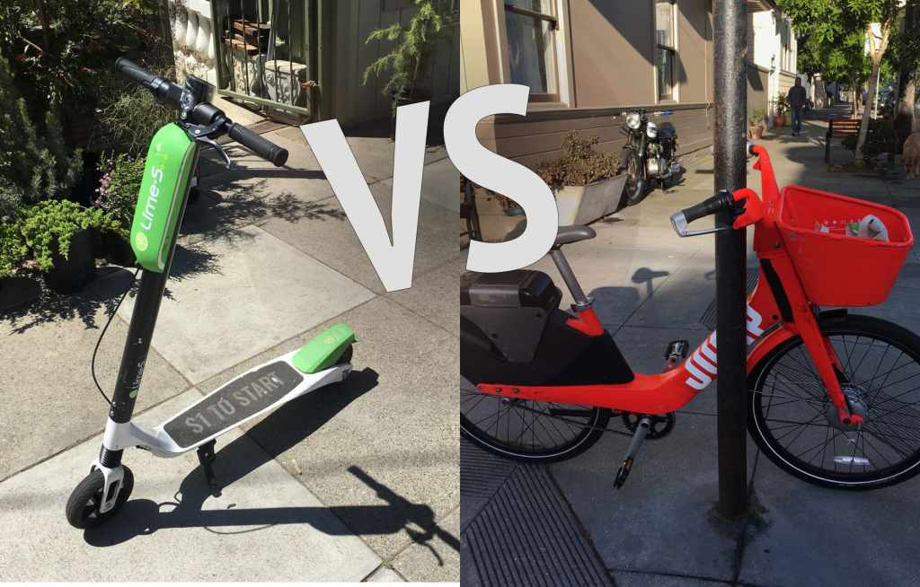 """bd746305017 Picture of an electric scooter and an electric bike next to each other with  VS written. """""""