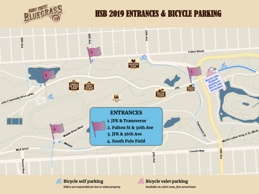 hardly strictly bike map and entrances 2019