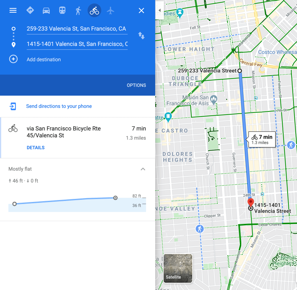 Showing the slight, but existing hill on Valencia Street in San Francisco on Google Maps.