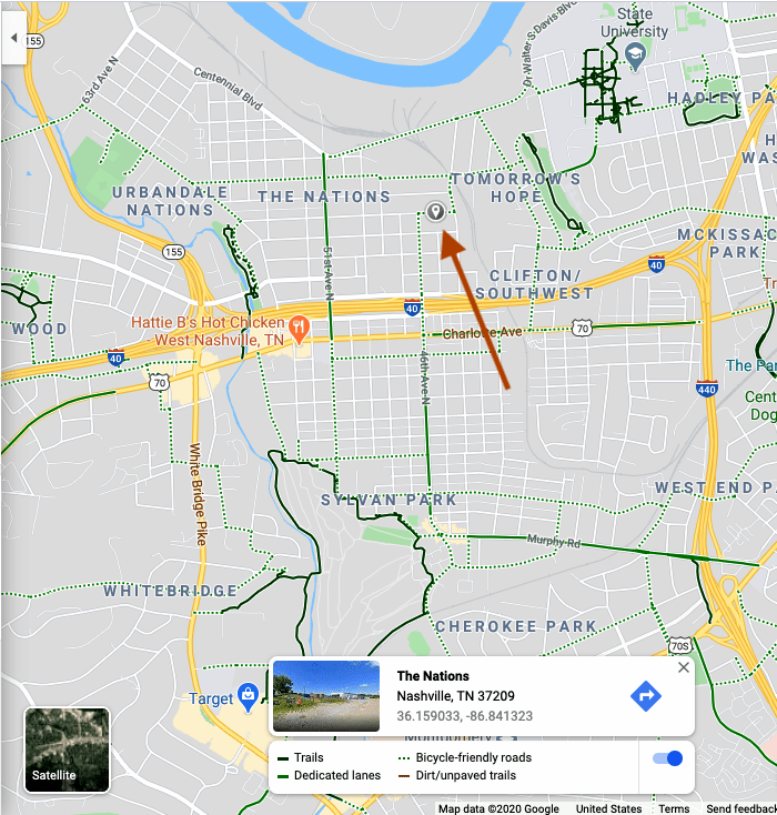 Looking at Street view for a street in Nashville on Google Maps