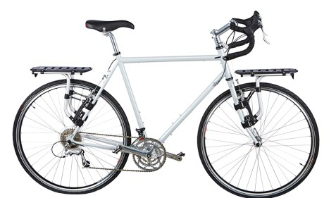 A bicycle with a thule pack n pedal bike rack on the rear and the front of the bike. It has two bike racks!