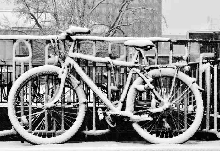 A bike parked to a fence and covered in snow.