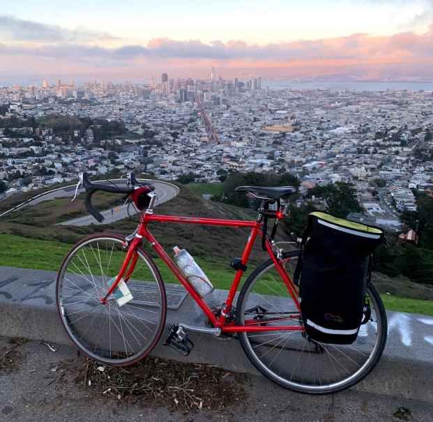 road bike on twin peaks looking out onto downtown san francisco. Bike is commute ready with lights, rack, and bag. I bought this bike used at a local bike shop on consignment.