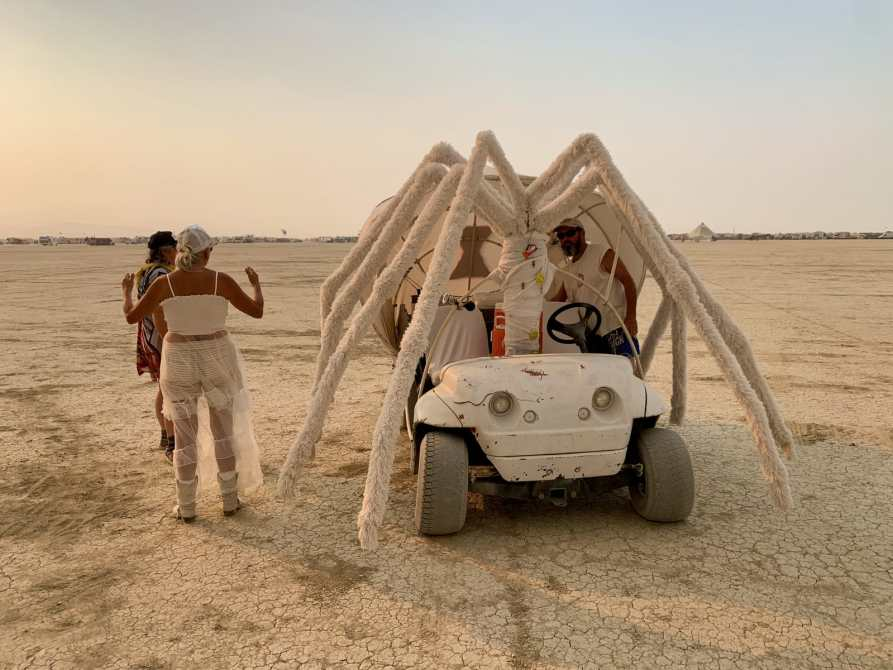 A golf cart that looks like a spider. seen at burning man