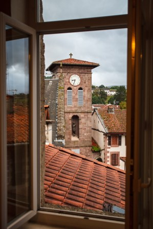 Clock Tower in Saint-Jean-Pied-de-Port, France