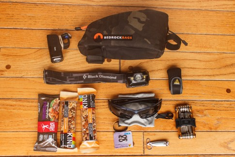 Usual contents in the Bedrock Dakota Top Tube Bag