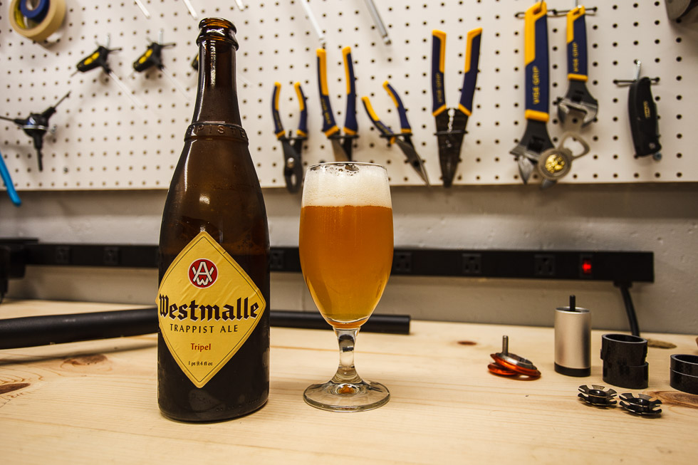 A Westmalle Tripel as the beer of choice to work on the Surly Karate Monkey