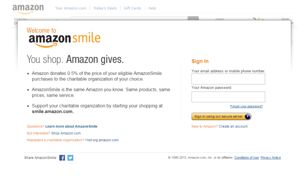 Amazon smile main page