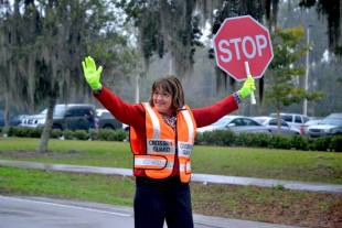 Orange County Mayor Teresa Jacobs puts her best foot forward for pedestrian safety