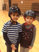 UGGAB: Two youth in helmets at Van Asselt