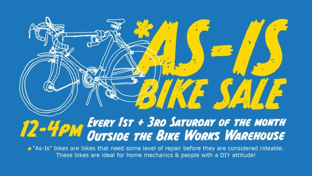 A drawing of a white bicycle on a blue background with the words As-Is bike sale and details of the sale.