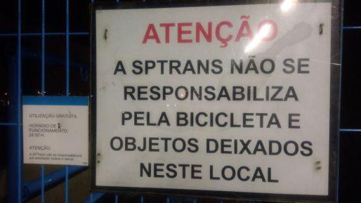 Bicicletário do Terminal Santo Amaro Bike Zona Sul