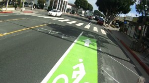 New green bike lanes below Pico in Santa Monica.