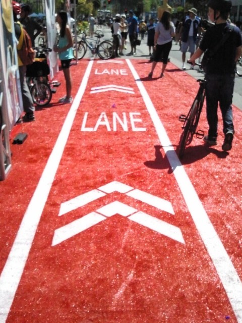 Only in LA — Cyclists at the Fairfax hub get to ride the red carpet.