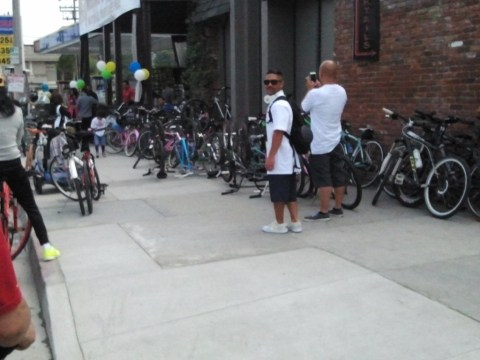 Businesses that reached out to bike riders were rewarded with bikes on the sidewalk representing customers inside.