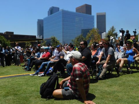 A crowd of a few hundred people turned out for the event