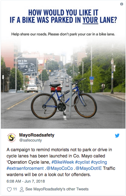 1b6d2c031b60a Ireland's County Mayo celebrates Bike Week by telling people not to park or  drive in bike lanes.