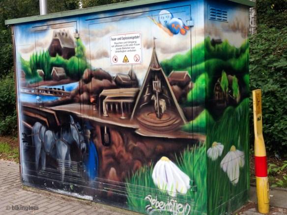 Bemalter Stromkasten mit Szenen aus dem Bergbau